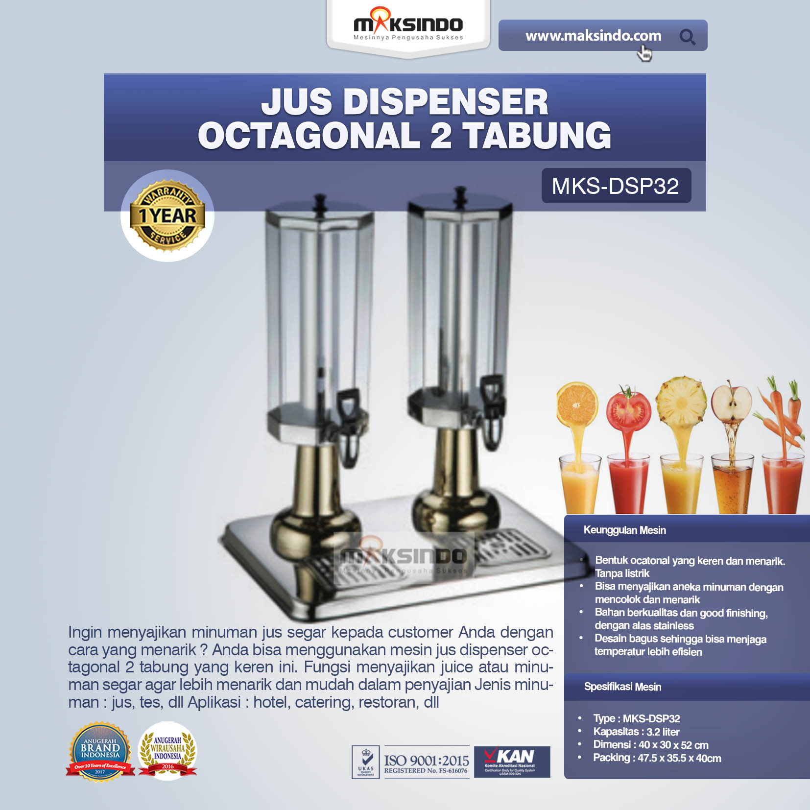 Jual Jus Dispenser Octagonal 2 Tabung  (DSP32) di Pekanbaru