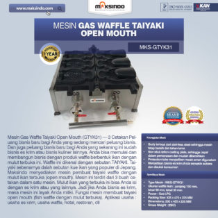 Jual Mesin Gas Waffle Taiyaki Open Mouth (GTYK31) di Pekanbaru