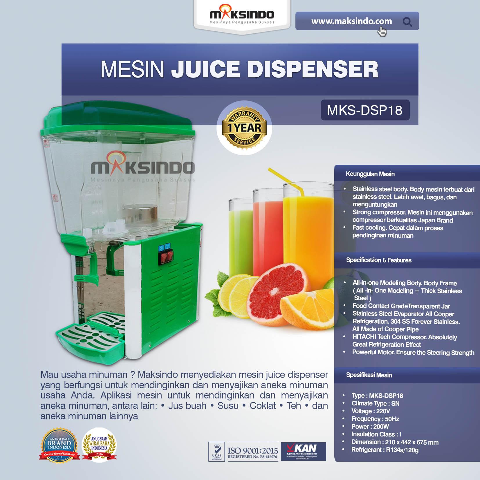 Jual Mesin Juice Dispenser MKS-DSP18 di Pekanbaru