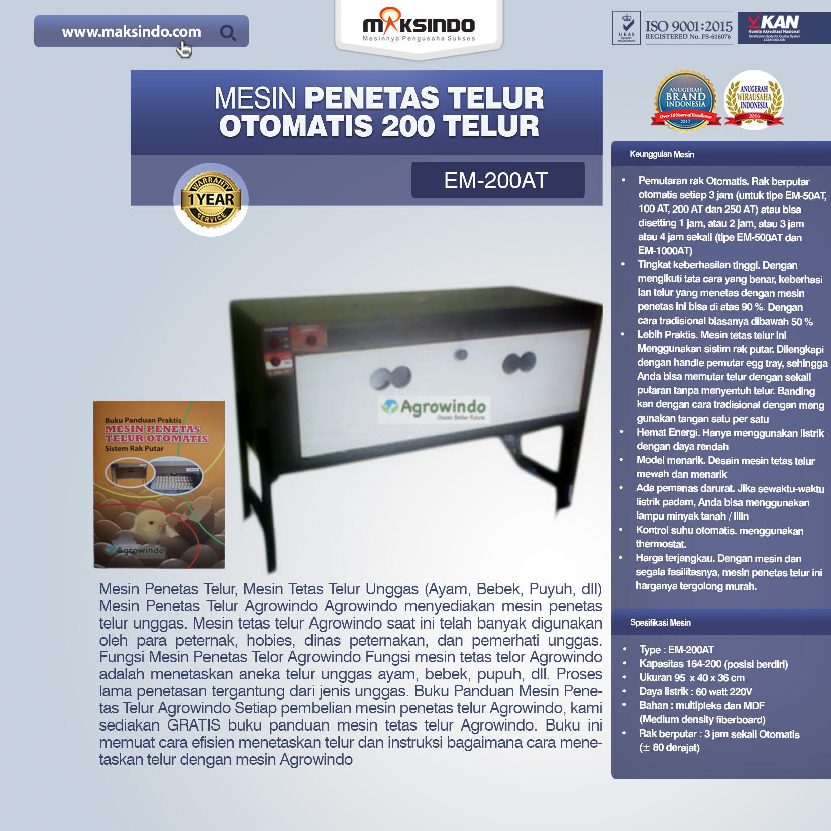 Jual Mesin Penetas Telur Otomatis 200 Telur (EM-200AT) di Pekanbaru