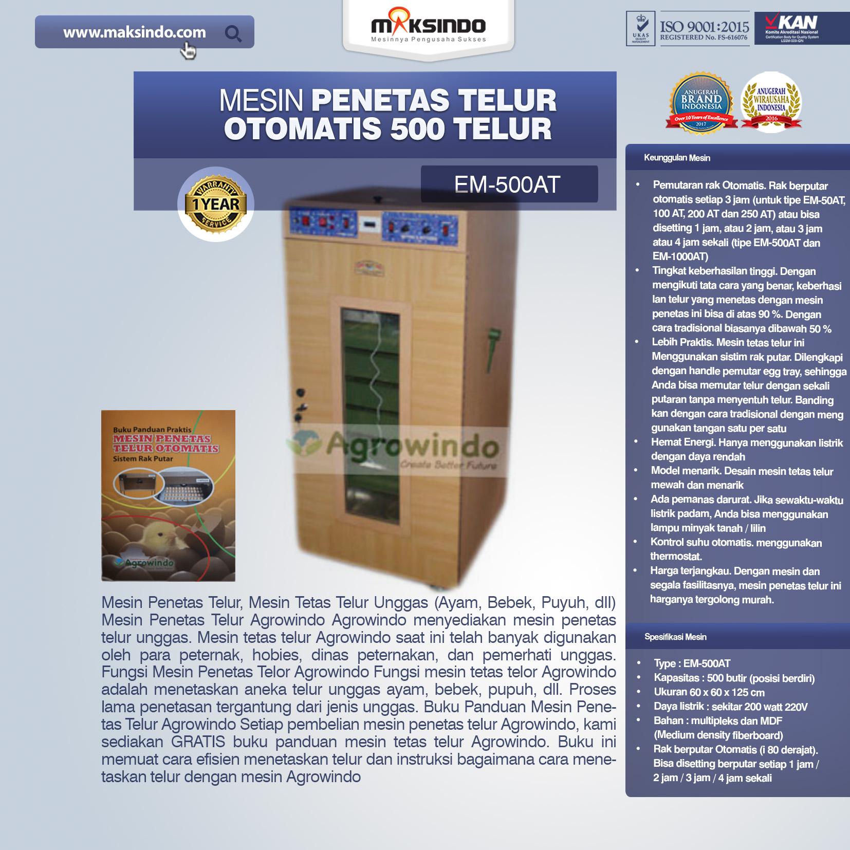Jual Mesin Penetas Telur Otomatis Kapasitas 500 Telur (EM-500AT) di Pekanbaru