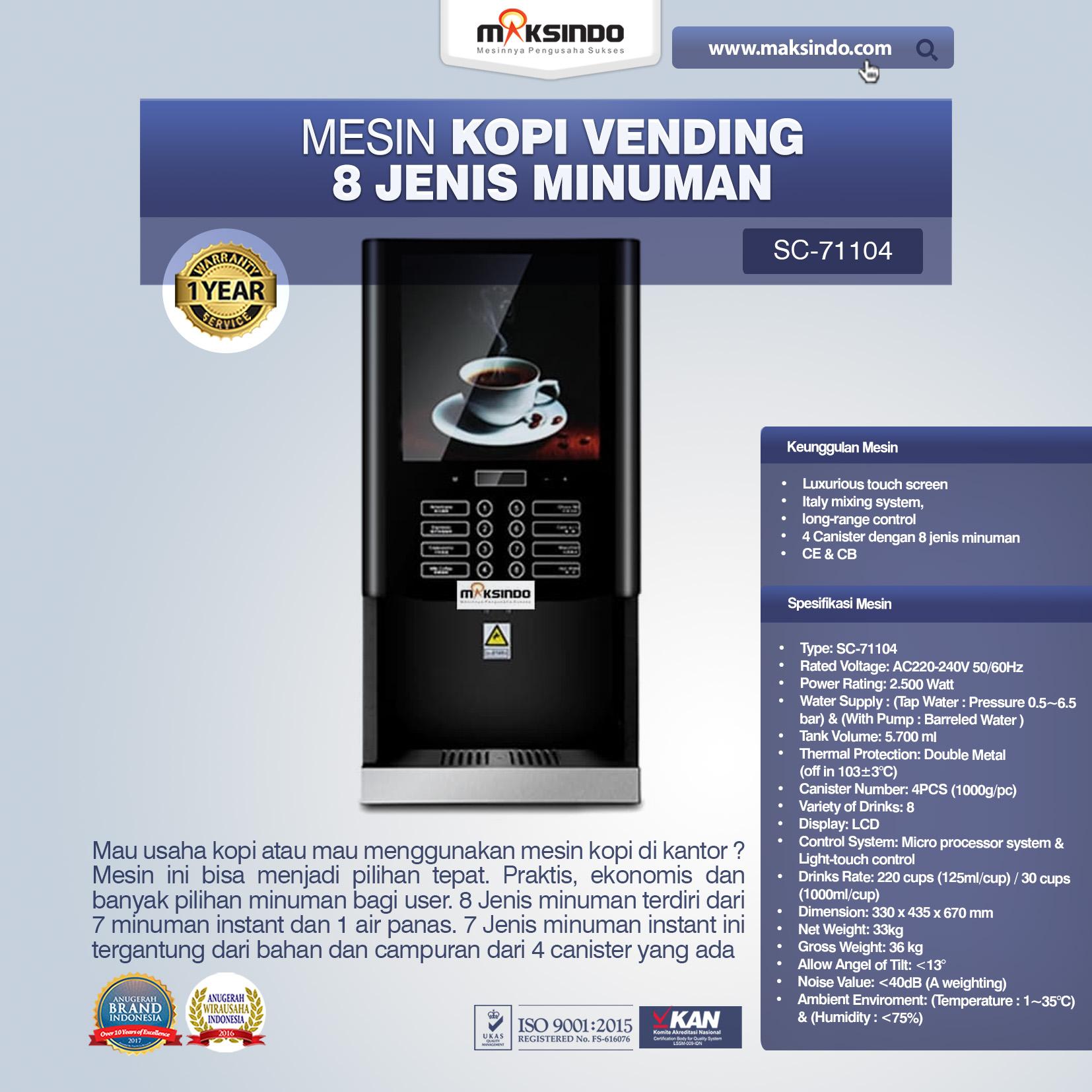 Jual Mesin Kopi Vending 8 Jenis Minuman Di Pekanbaru