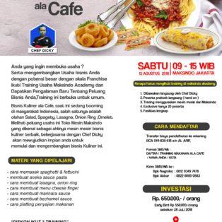 Training Usaha Makanan Ala Cafe, Minggu 12 Agustus 2018
