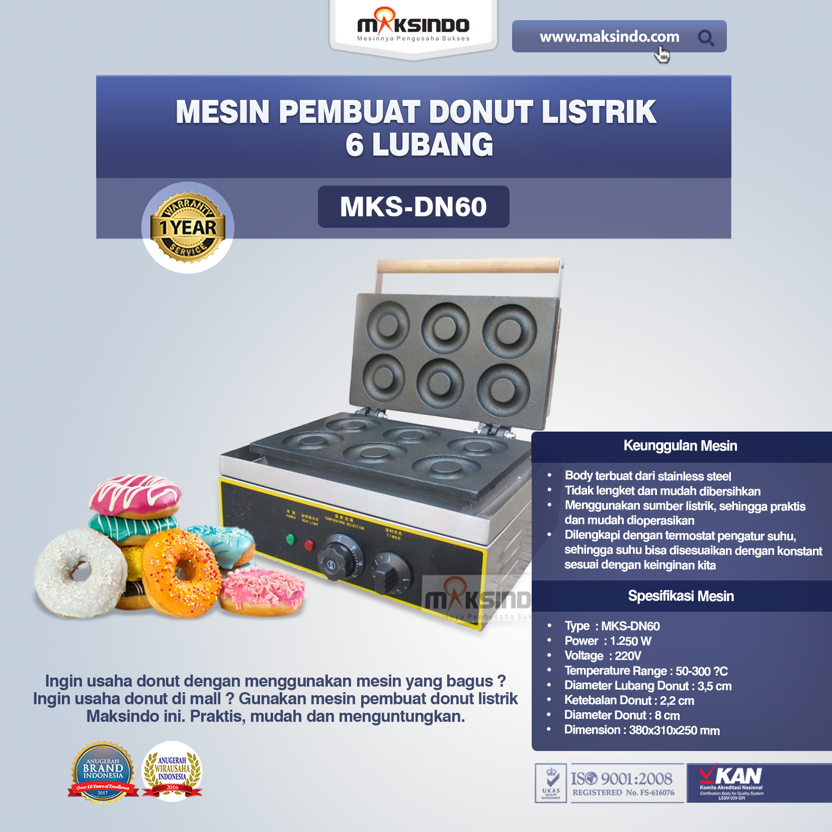 Jual Mesin Pembuat Donut Listrik 6 Lubang di Pekanbaru