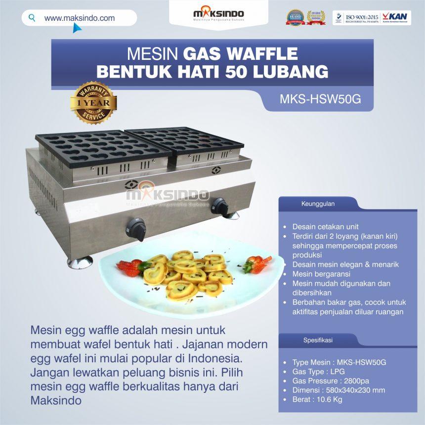 Jual Mesin Gas Waffle Bentuk Hati 50 Lubang MKS-HSW50G di Pekanbaru