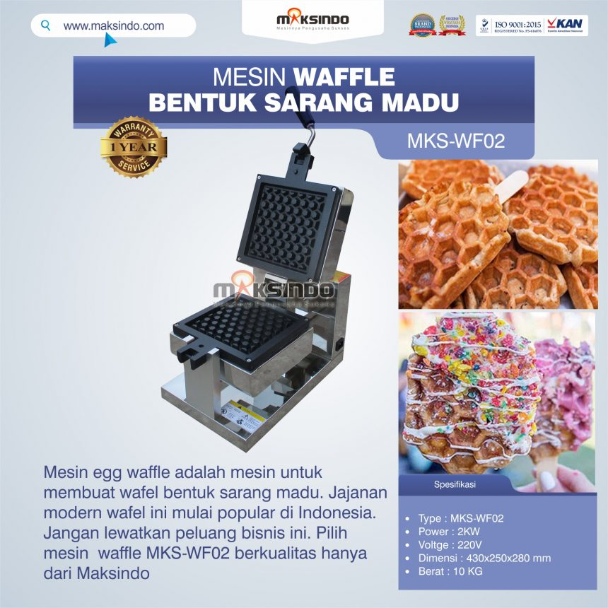 Jual Mesin Waffle Bentuk Sarang Madu MKS-WF02 di Pekanbaru