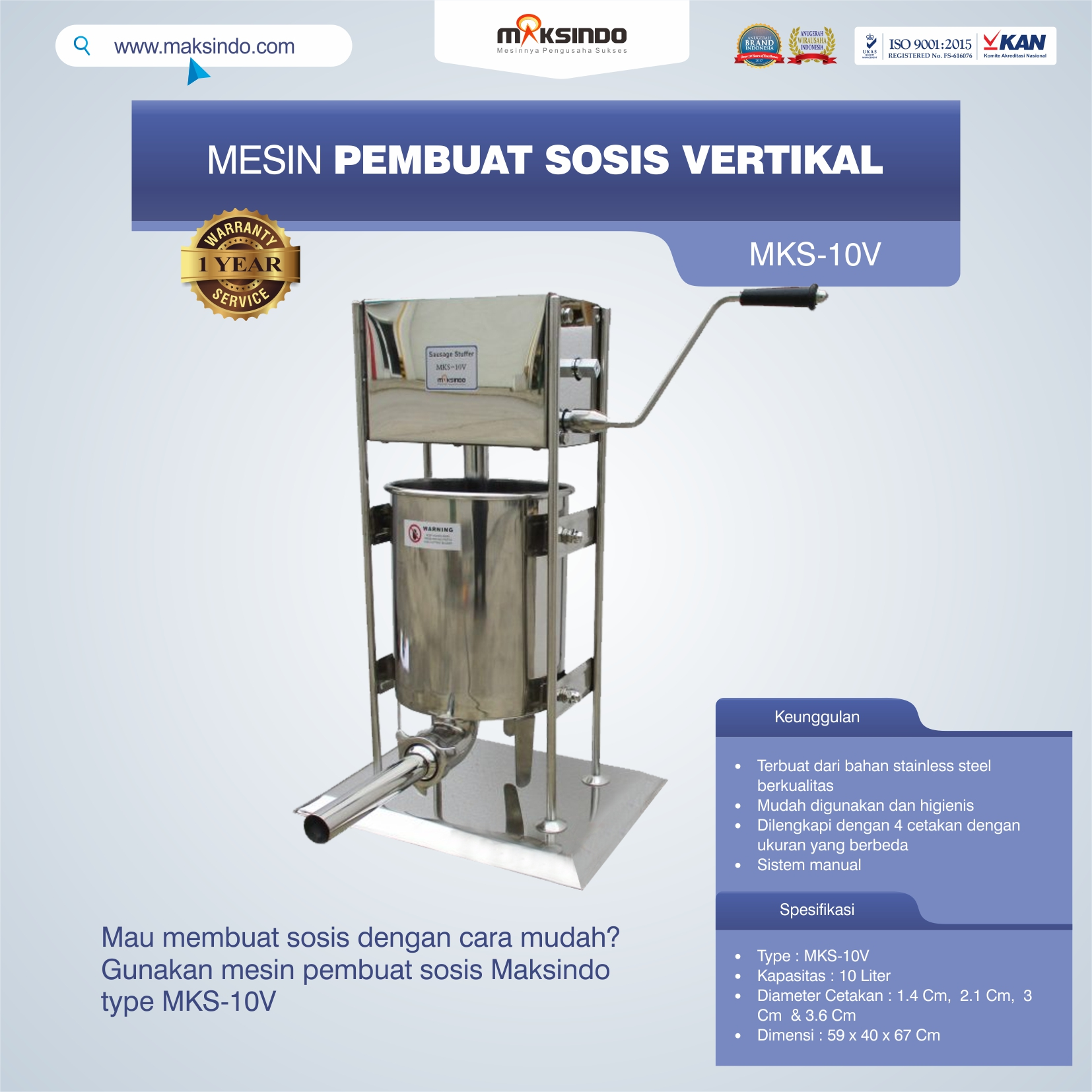 Jual Mesin Pembuat Sosis Vertikal MKS-10V di Pekanbaru