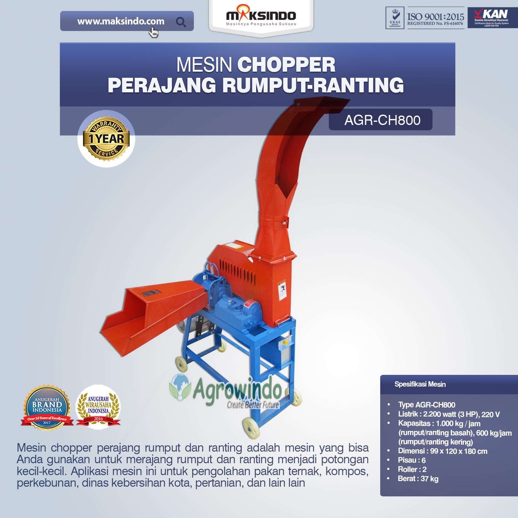 Jual Mesin Chopper Perajang Rumput-Ranting (AGR-CH800) di Pekanbaru