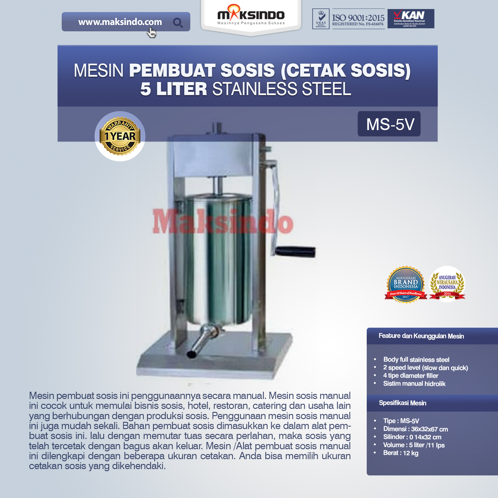 Jual Mesin Pembuat Sosis (Cetak Sosis) Stainless Steel di Pekanbaru