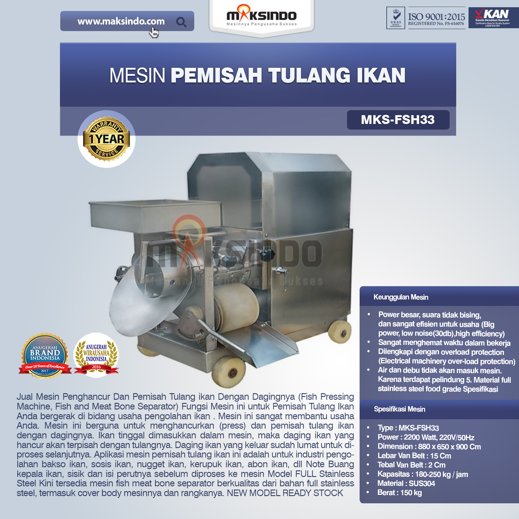Jual Mesin Pemisah Tulang Ikan (FSH33) di Pekanbaru
