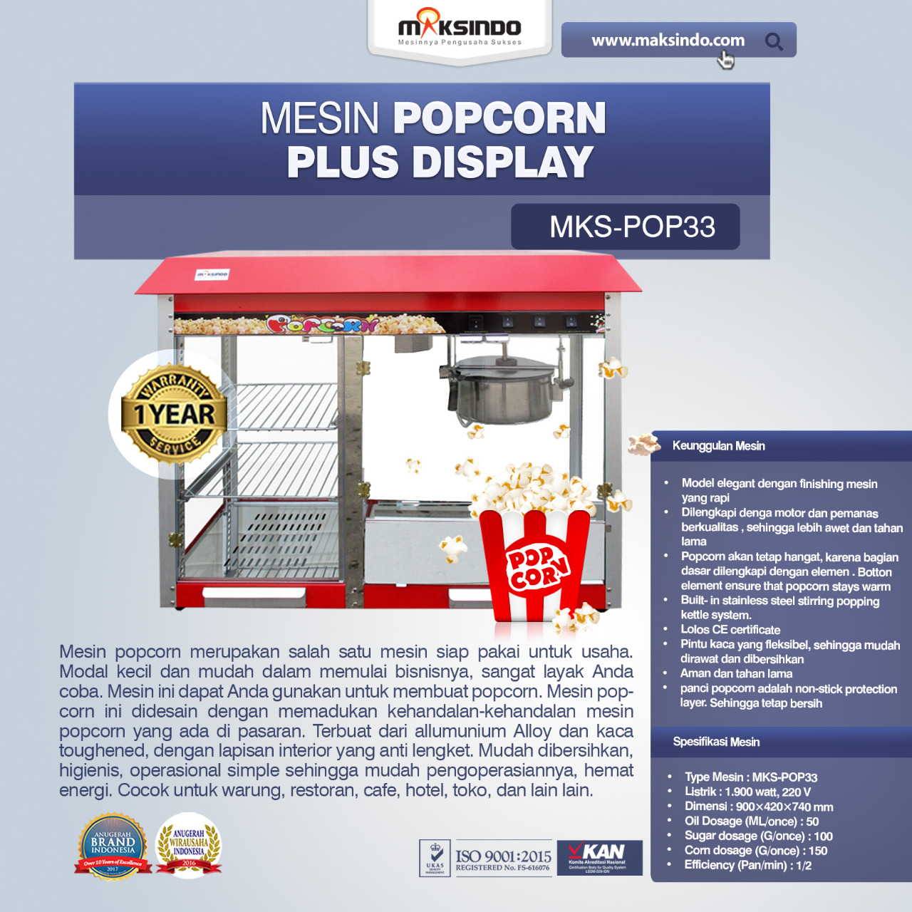 Jual Mesin Popcorn Plus Display (POP33) di Pekanbaru