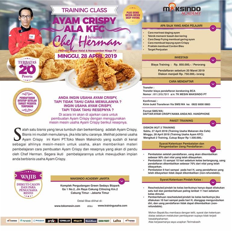Training Class Ayam Crispy Ala KFC, Minggu 28 April 2019