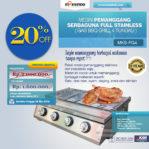 Jual Pemanggang Serbaguna Stainless Steel – Gas BBQ Grill 4 Tungku di Pekanbaru