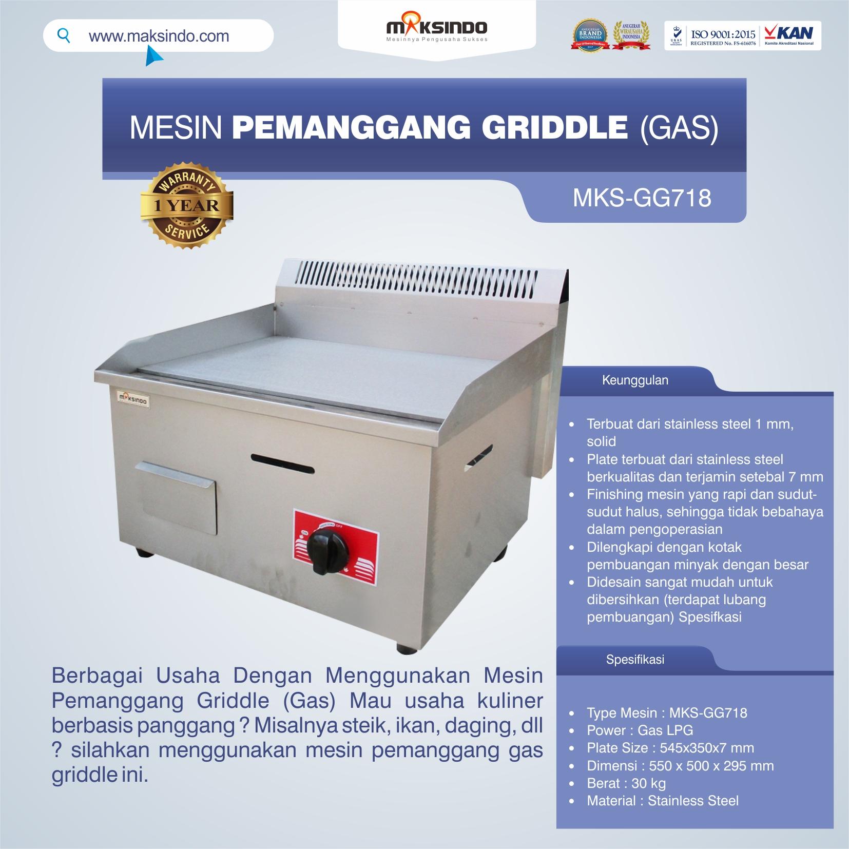 Jual Mesin Pemanggang Griddle (GAS) – GG718 di Pekanbaru