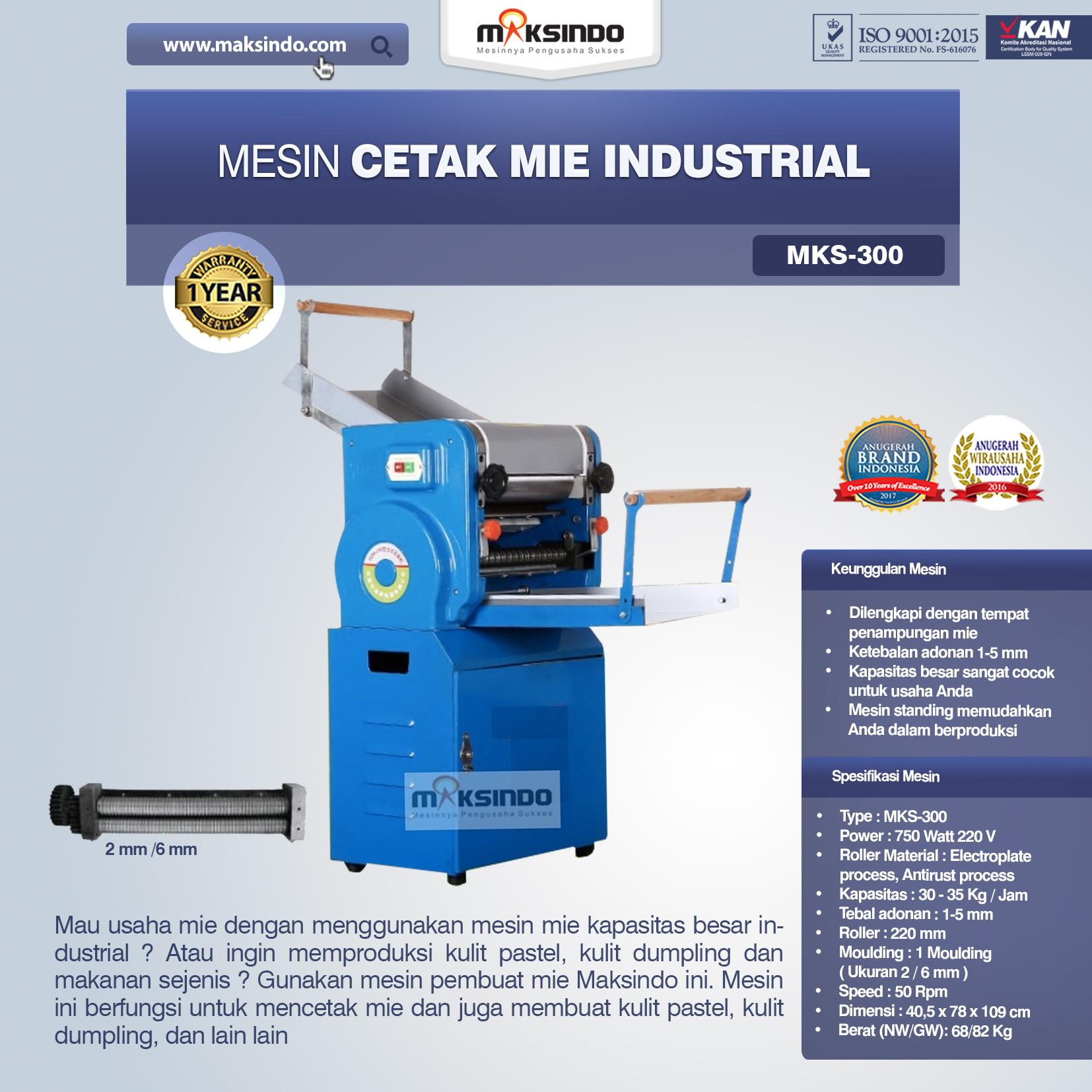 Jual Mesin Cetak Mie Industrial (MKS-300) di Pekanbaru