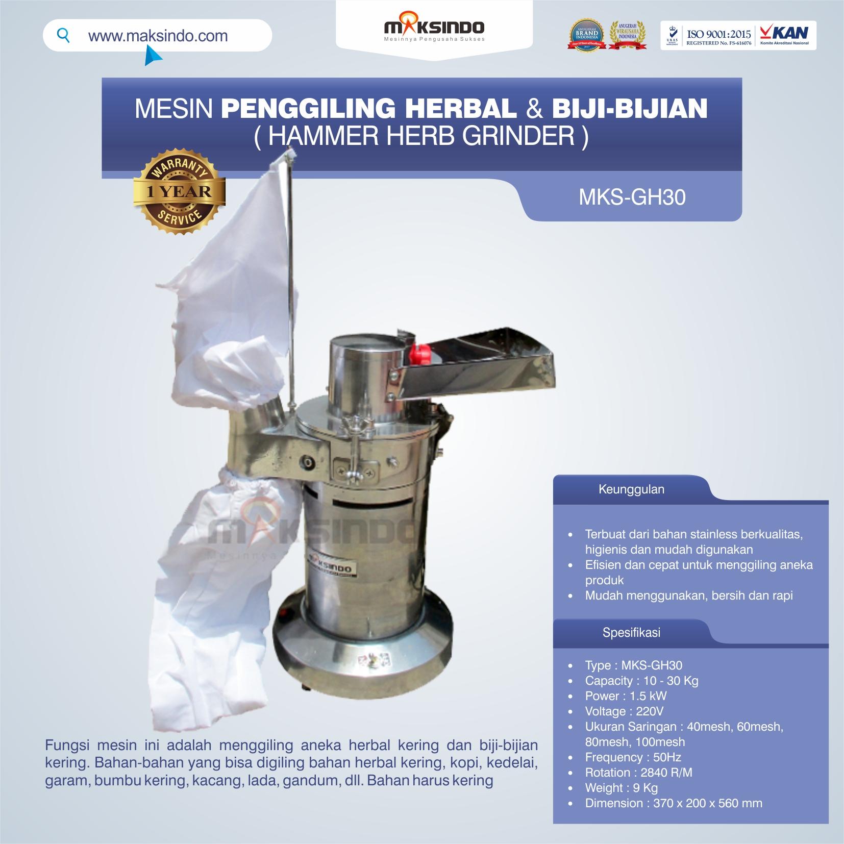 Jual Penggiling Herbal dan Biji-Bijian (GH-30) di Pekanbaru