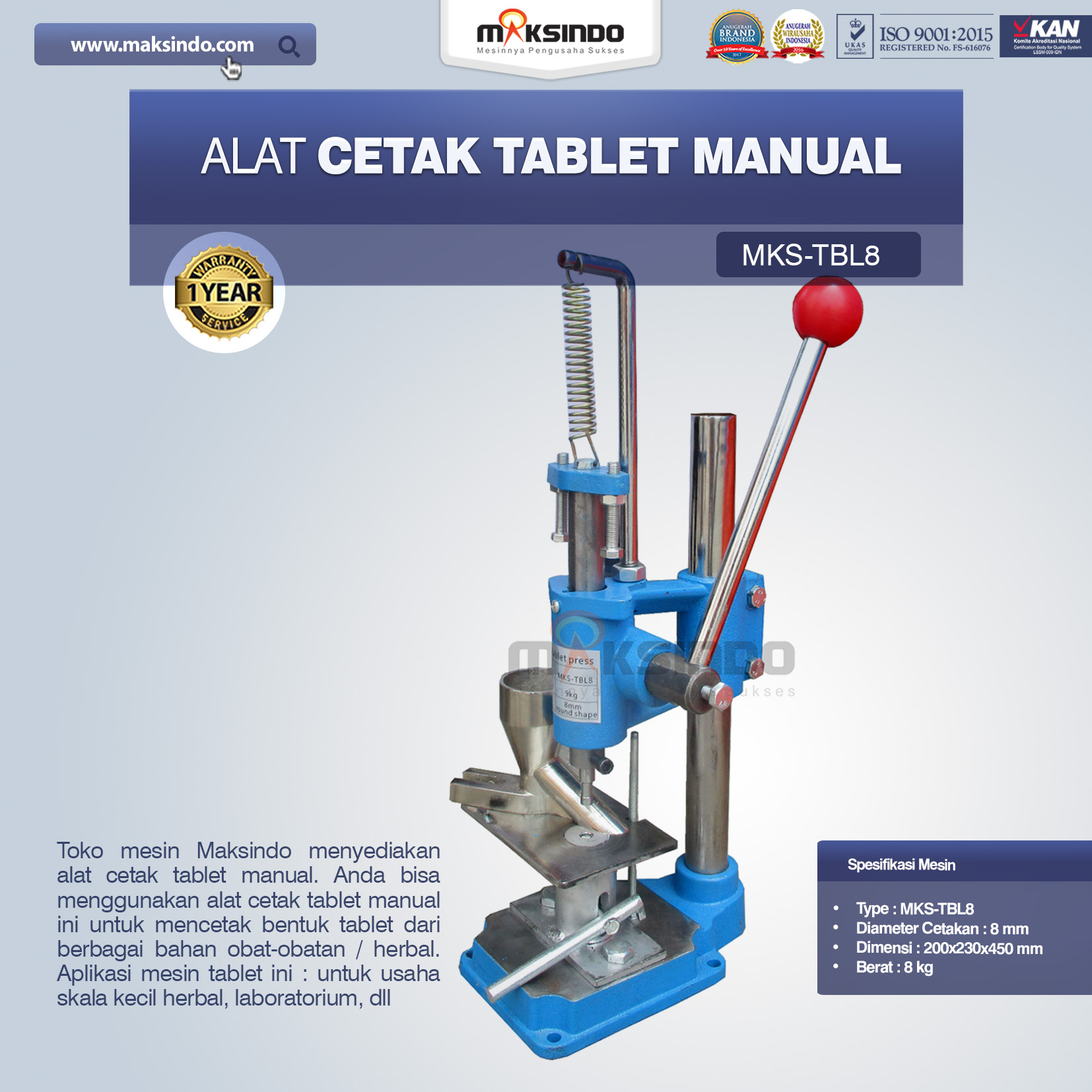 Jual Alat Cetak Tablet ManualMKS-TBL8 di Pekanbaru