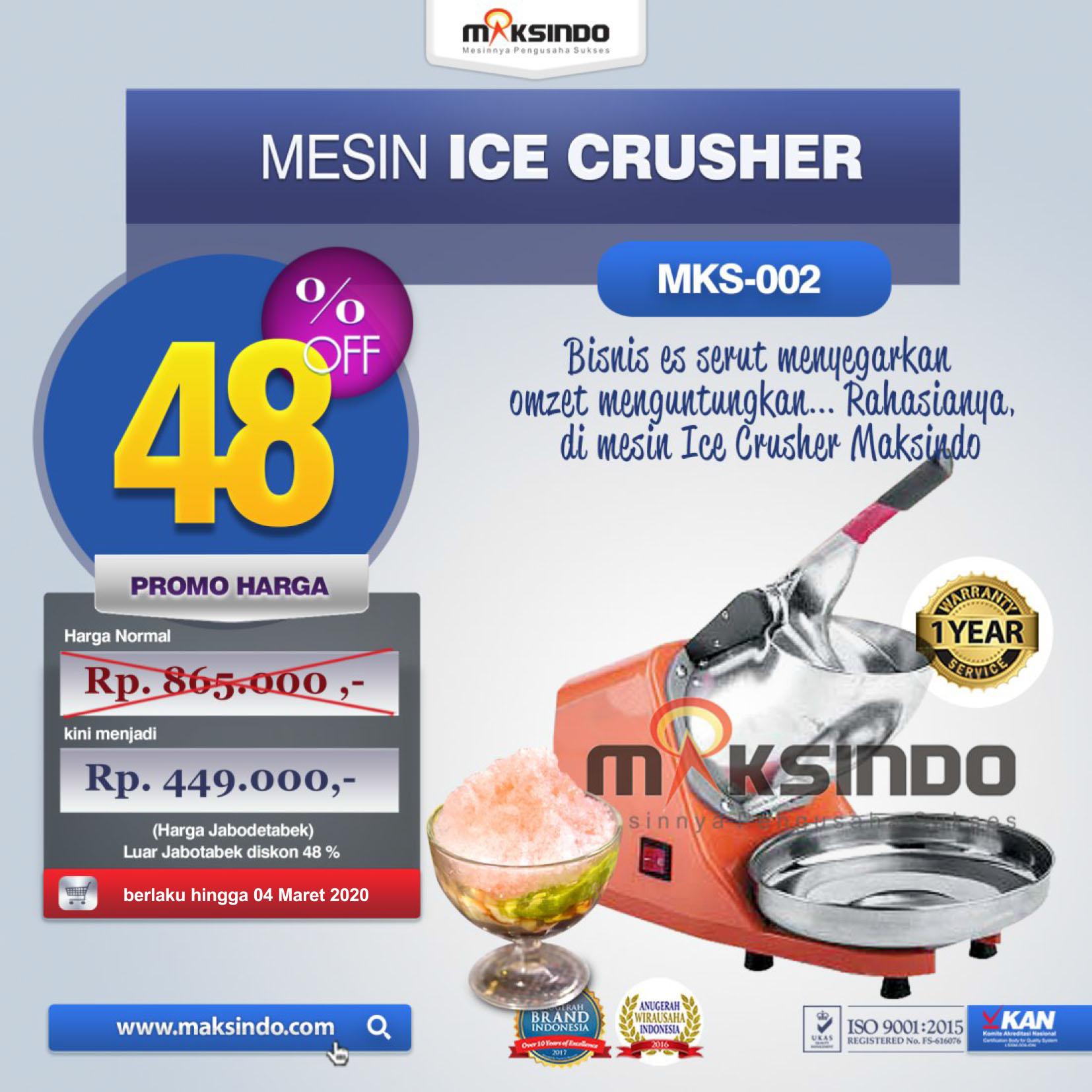 Jual Mesin Es Serut (Ice Crusher- MKS002) di Pekanbaru