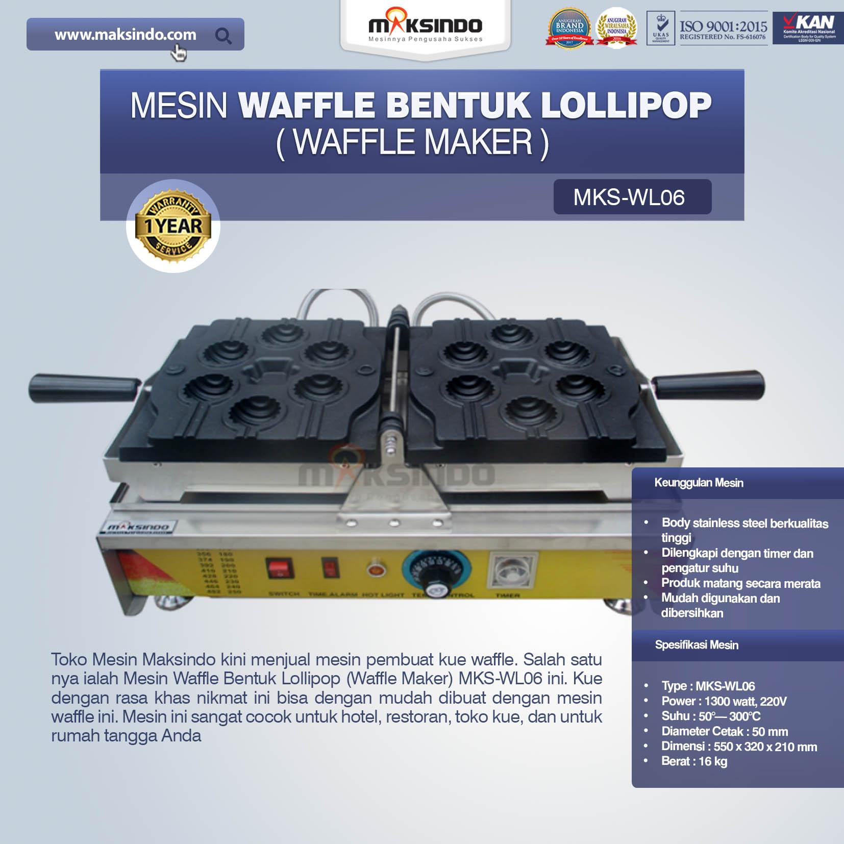 Jual Mesin Waffle Bentuk Lollipop (Waffle Maker) MKS-WL06 di Pekanbaru
