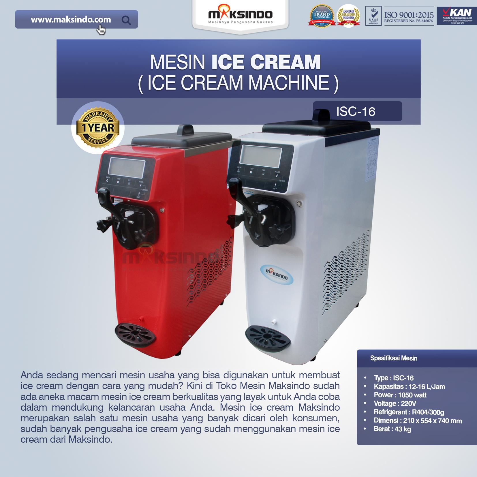 Jual Mesin Es Krim (Ice Cream Machine) ISC-16 di Pekanbaru