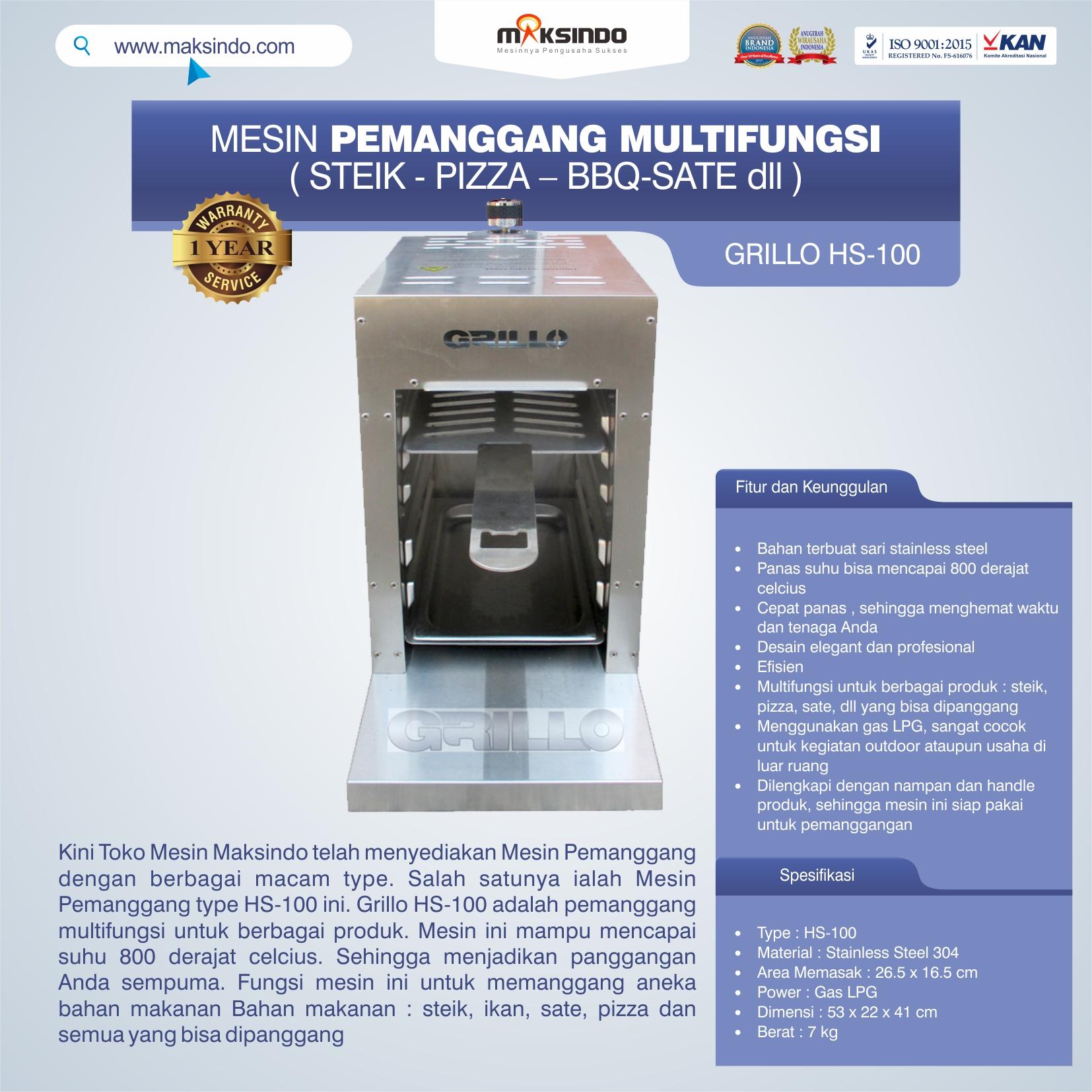 Jual Mesin Pemanggang Steik – Pizza (GRILLO  HS-100) di Pekanbaru