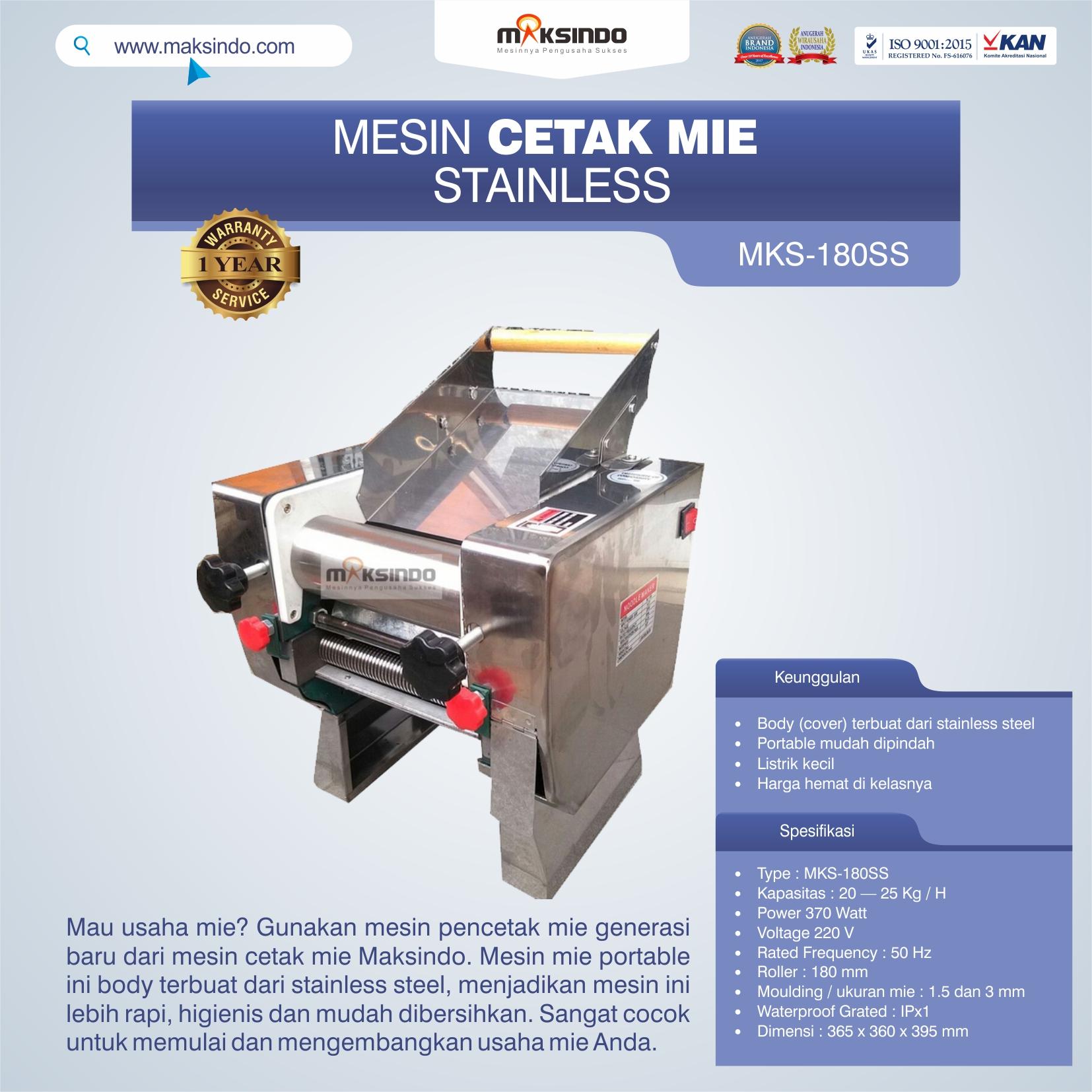 Jual Mesin Cetak Mie Stainless (MKS-180SS) di Pekanbaru