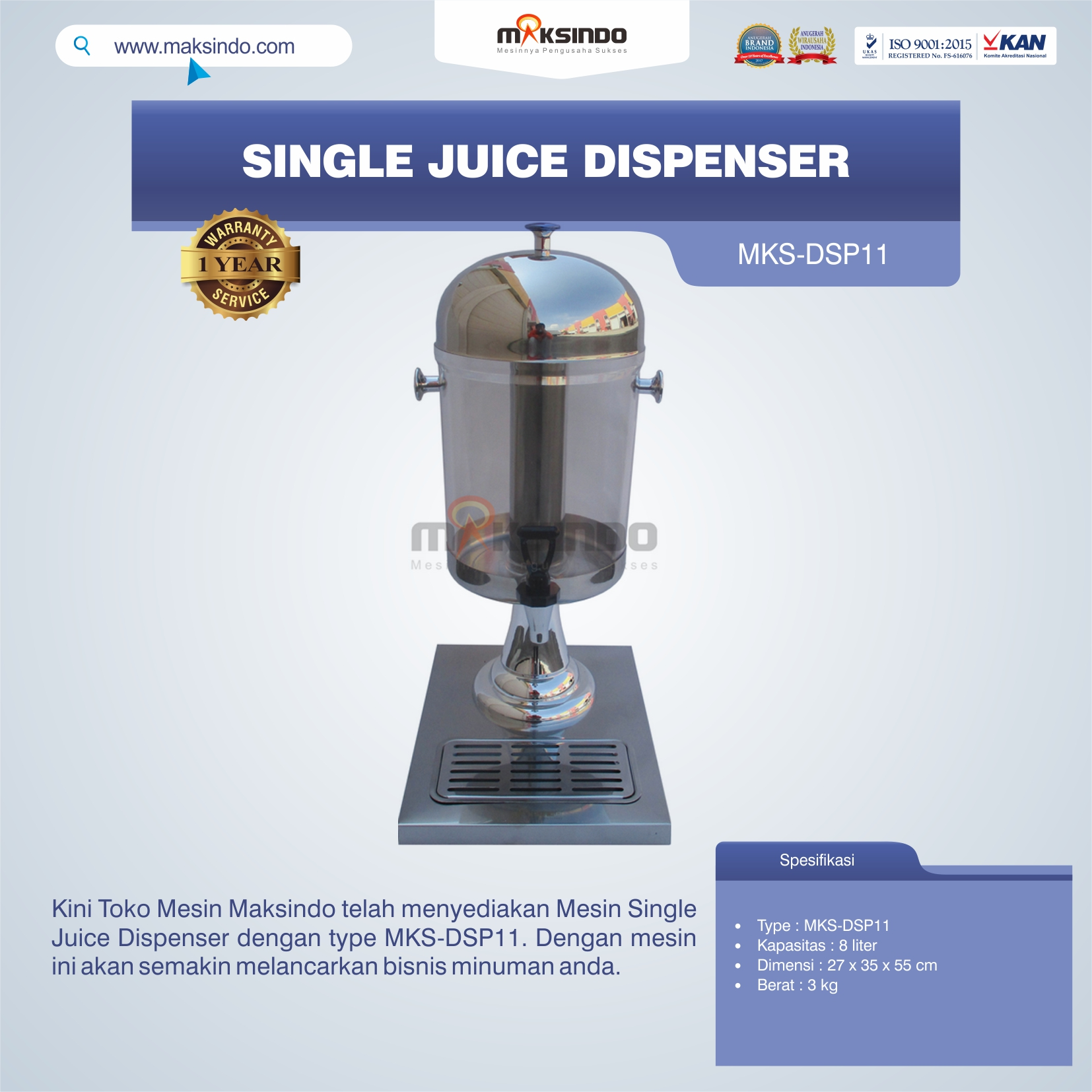 Jual Single Juice Dispenser MKS-DSP11 di Pekanbaru