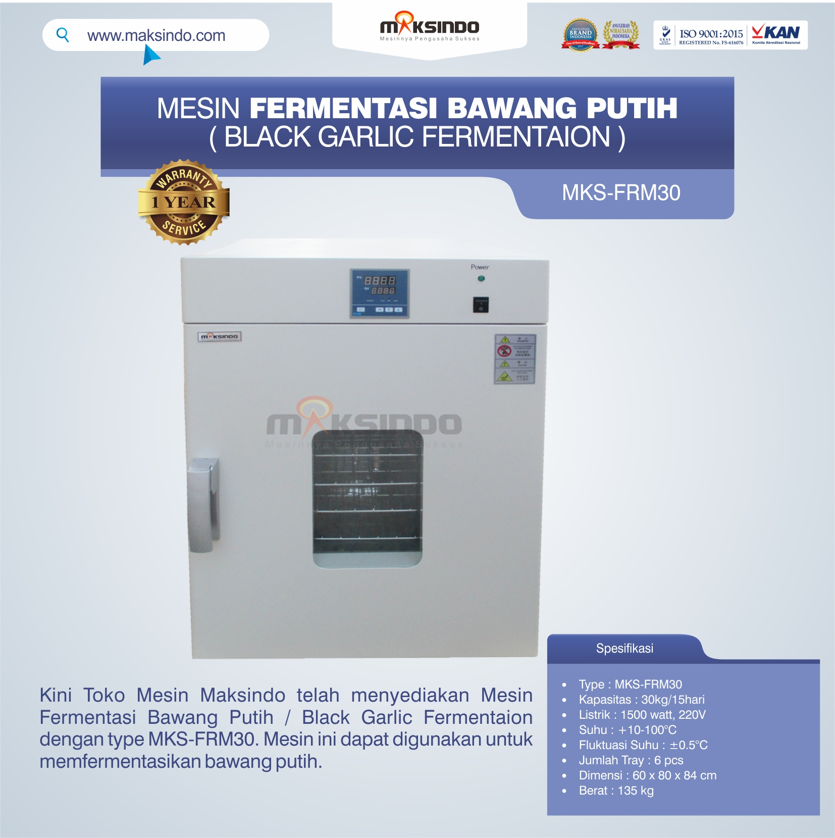 Jual Mesin Fermentasi Bawang Putih / Black Garlic Fermentaion MKS-FRM30 di Pekanbaru