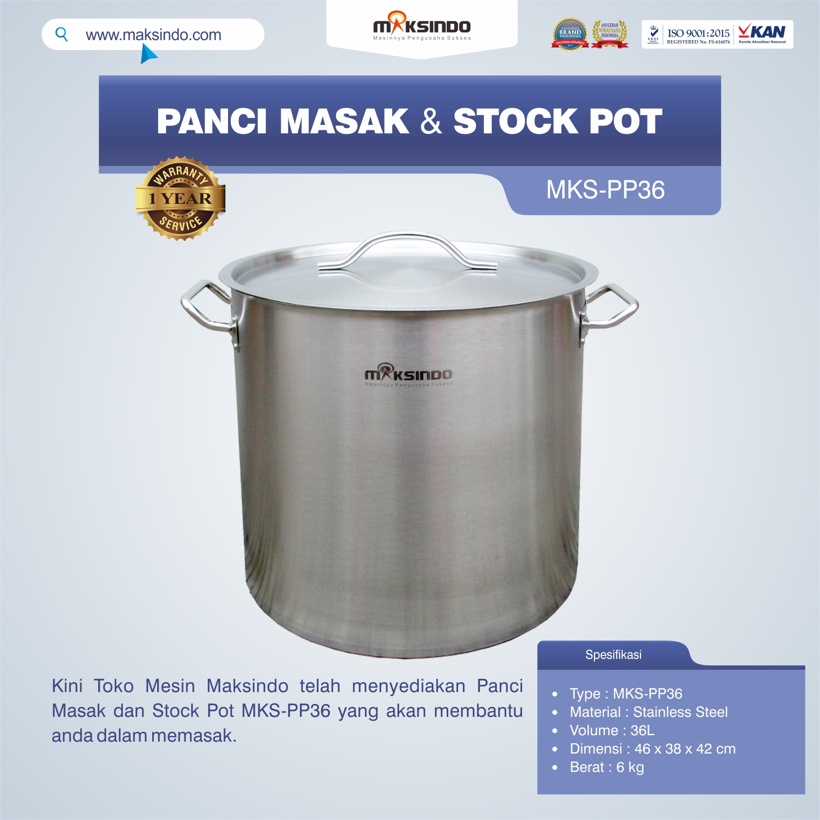 Jual Panci Masak Dan Stock Pot MKS-PP36 di Pekanbaru