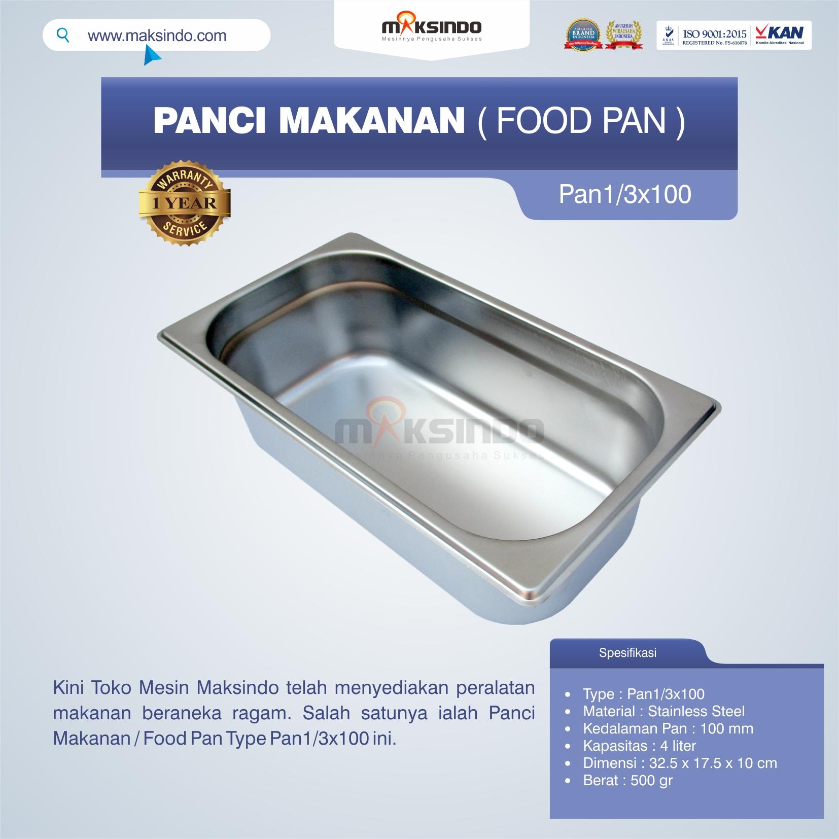 Jual Panci Makanan / Food Pan Type Pan1/3×100 di Pekanbaru