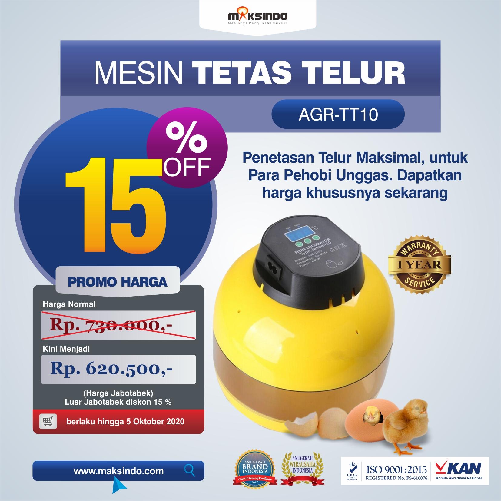 Jual Mesin Tetas Telur 10 Butir (AGR-TT-10) di Pekanbaru