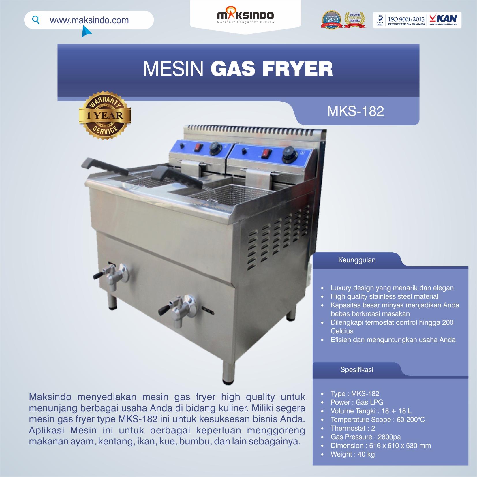 Jual Mesin Gas Fryer MKS-182 di Pekanbaru