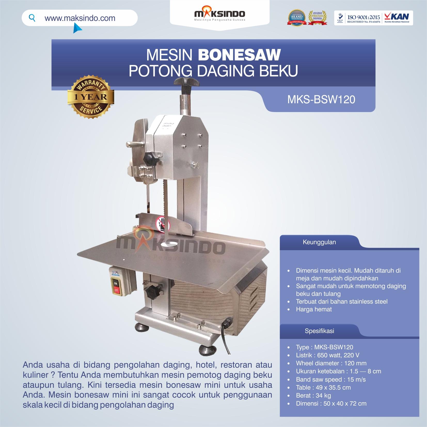 Jual Bonesaw Pemotong Daging Beku (MKS-BSW120) di Pekanbaru