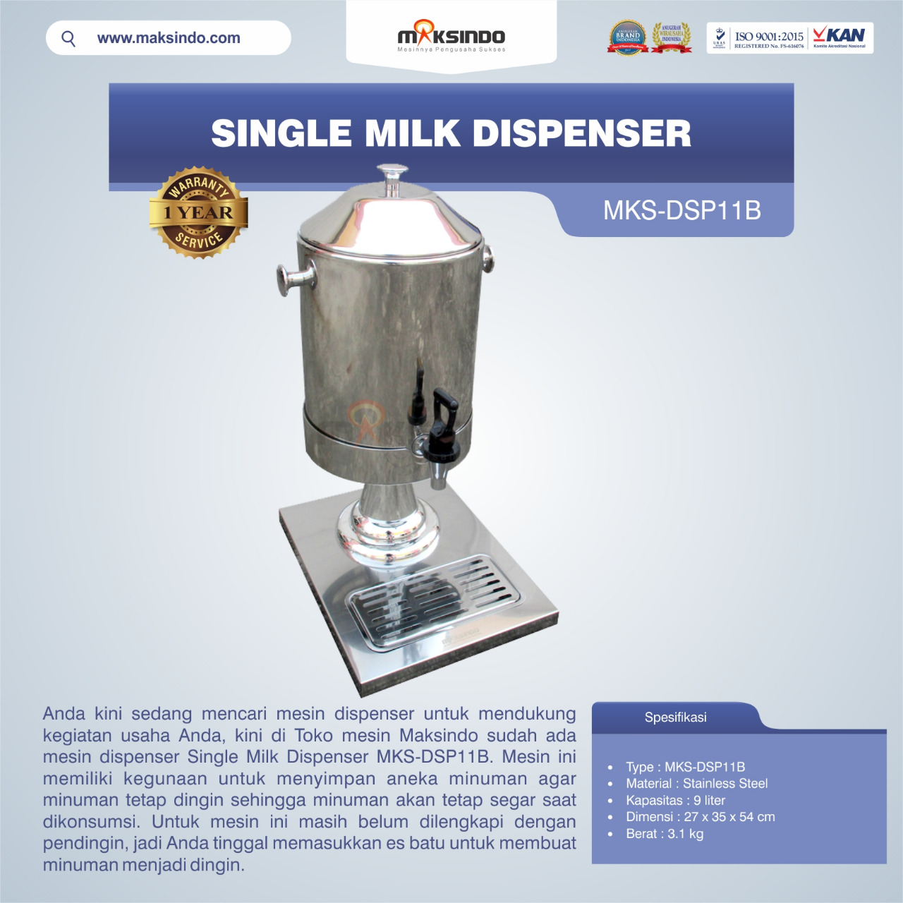 Jual Single Milk Dispenser MKS-DSP11B di Pekanbaru