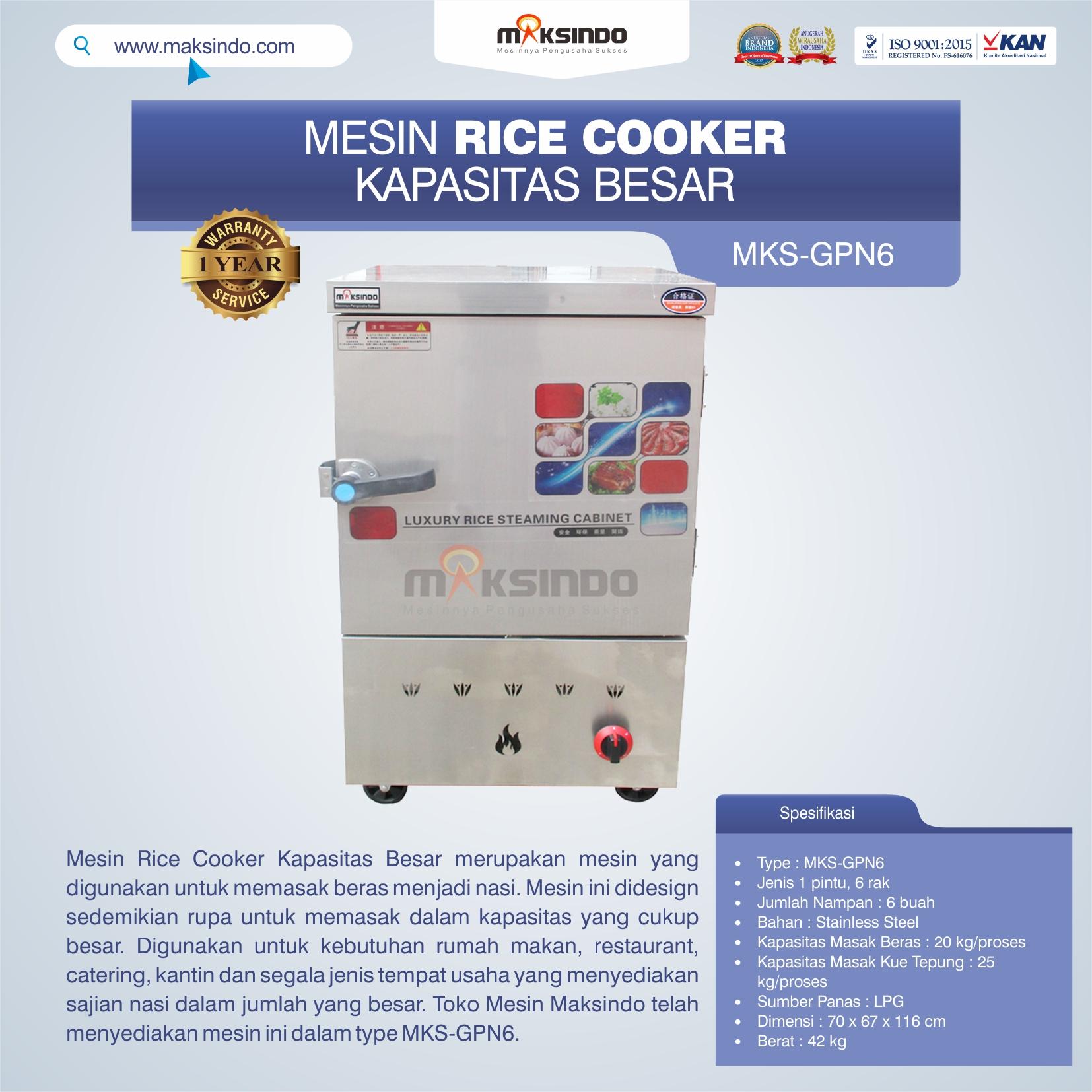 Jual Mesin Rice Cooker Kapasitas Besar MKS-GPN6 di Pekanbaru