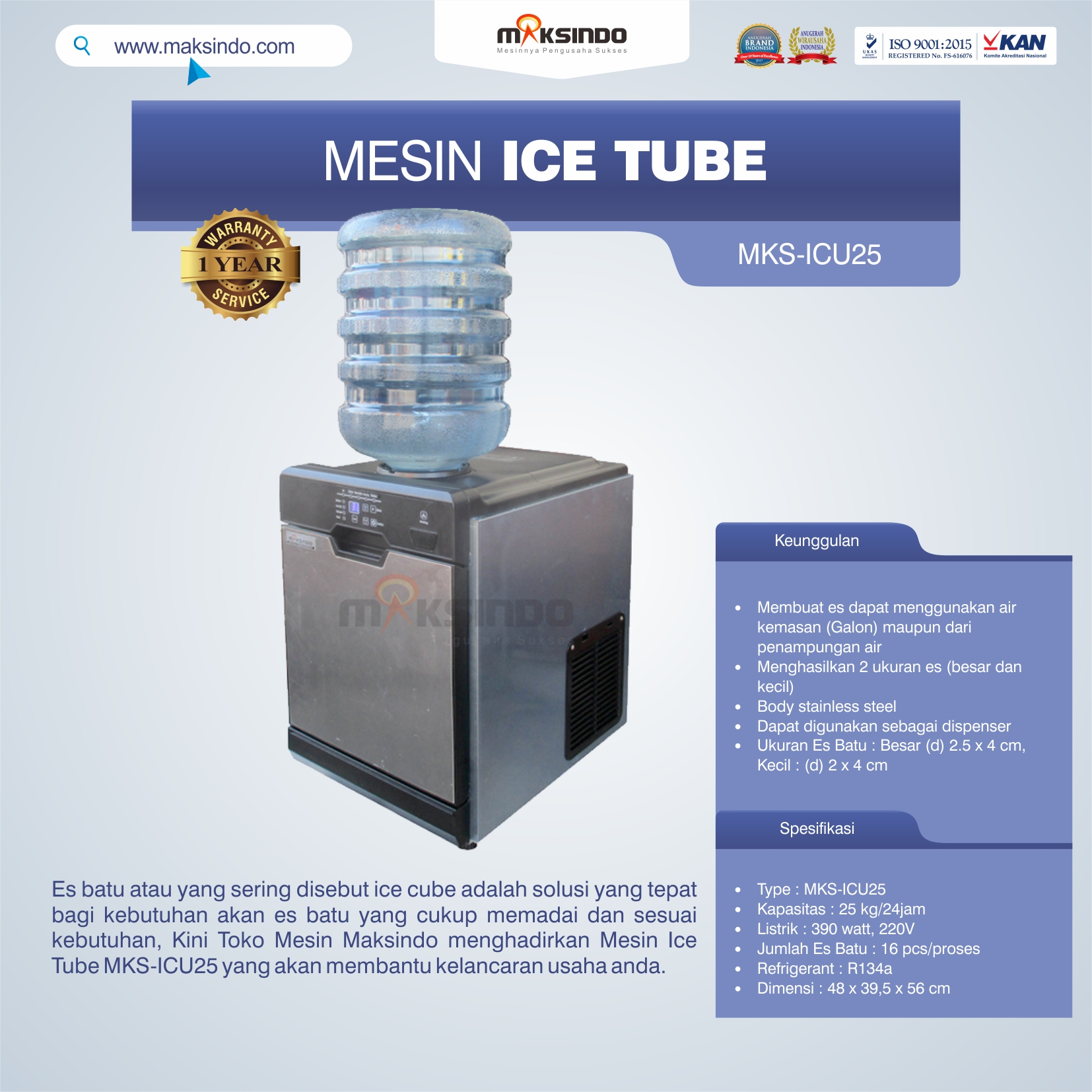 Jual Mesin Ice Tube MKS-ICU25 di Pekanbaru