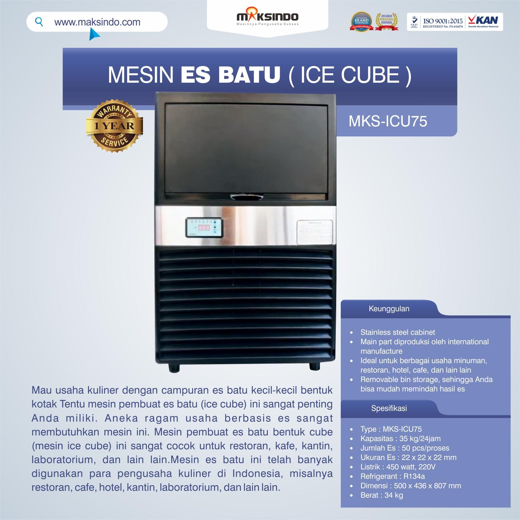Jual Mesin Es Batu Ice Cube (ICU-75) di Pekanbaru