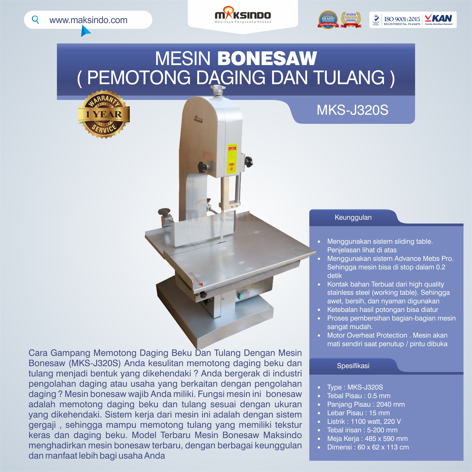 Jual Mesin Bonesaw MKS-J320S (pemotong daging dan tulang) di Pekanbaru