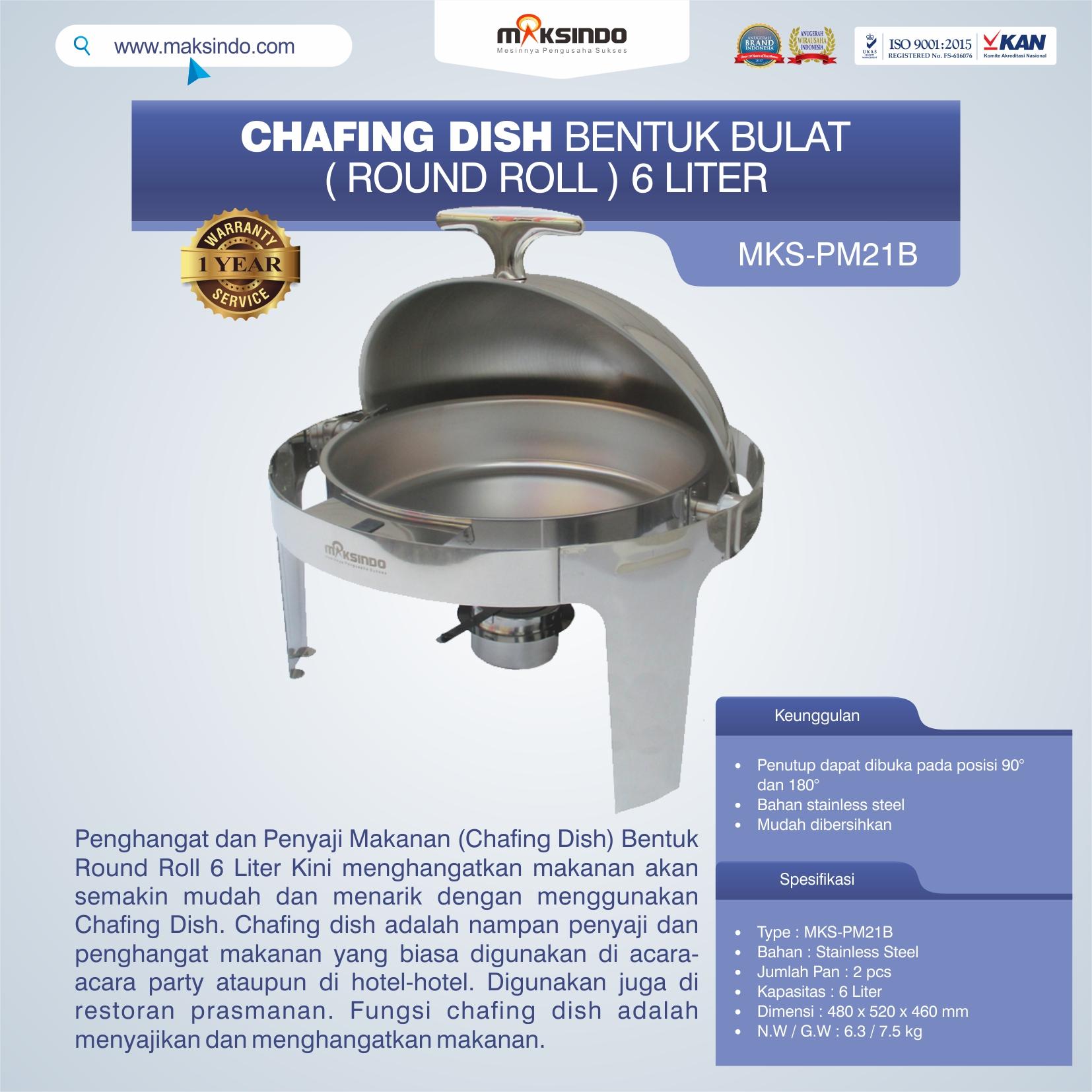 Jual Chafing Dish Bentuk Bulat (Round Roll) 6 Liter di Pekanbaru