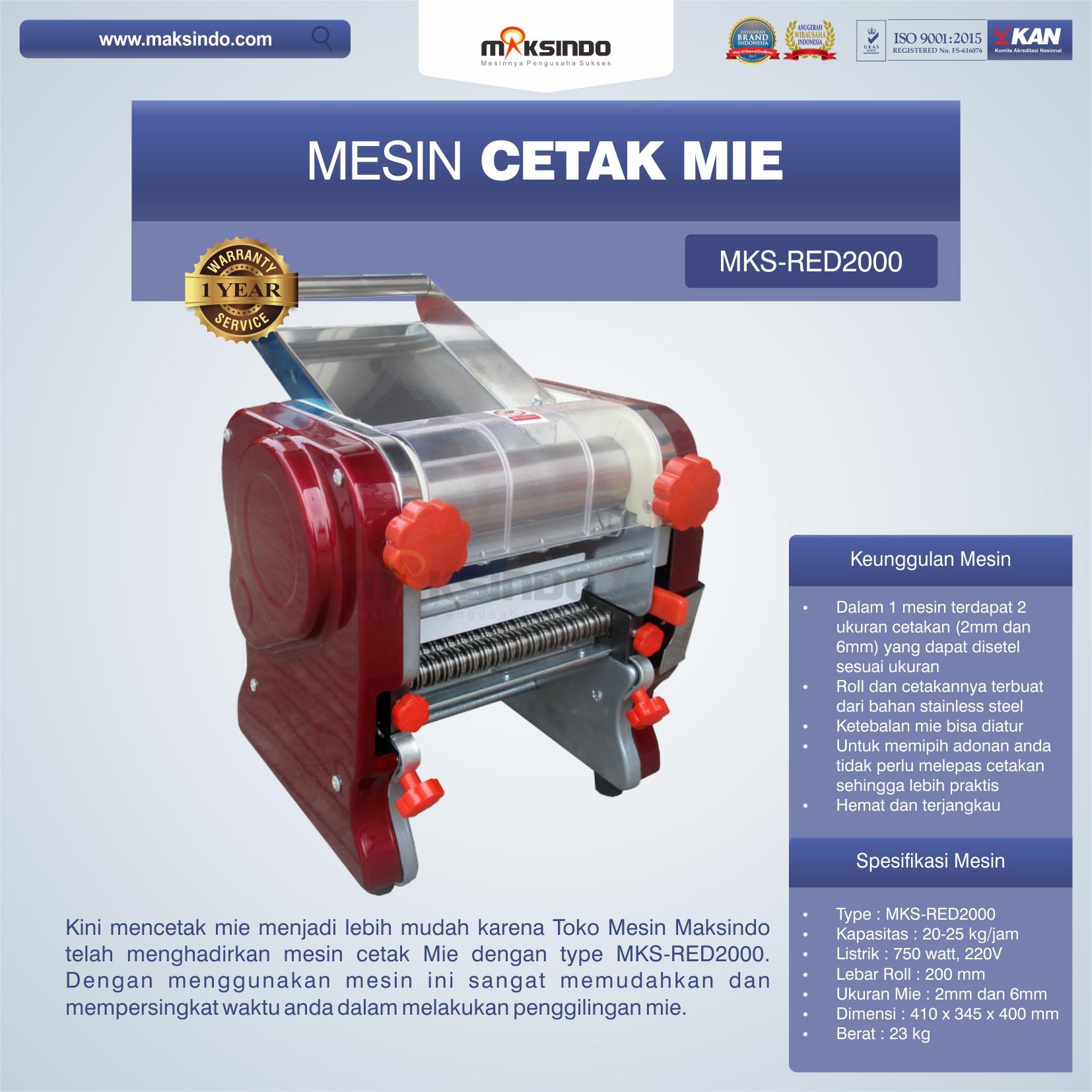 Jual Mesin Cetak Mie MKS-RED2000 di Pekanbaru