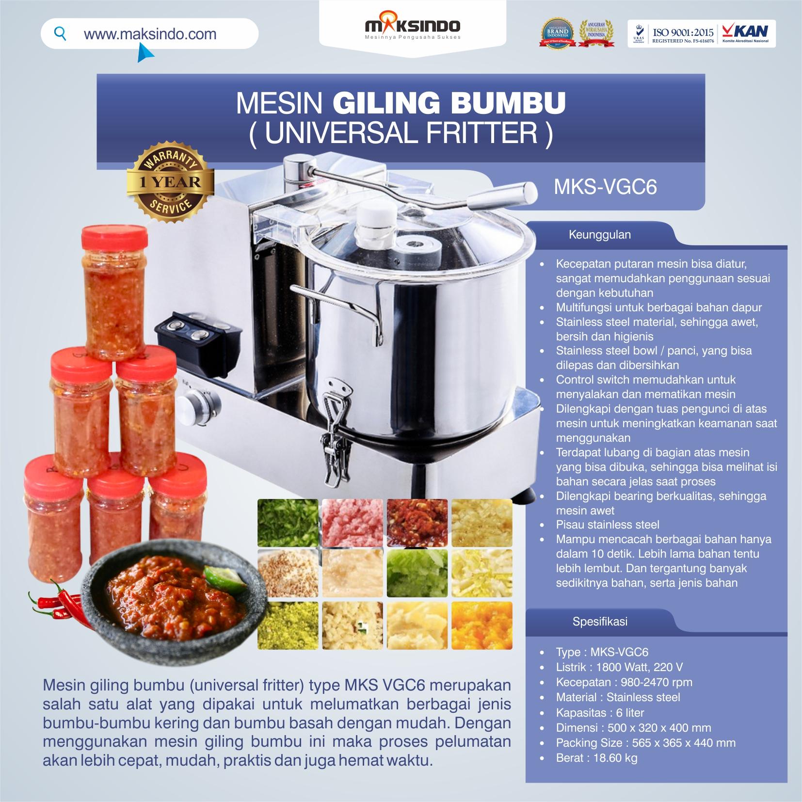 Jual Mesin Universal Fritter 6 liter (VGC6) di Pekanbaru