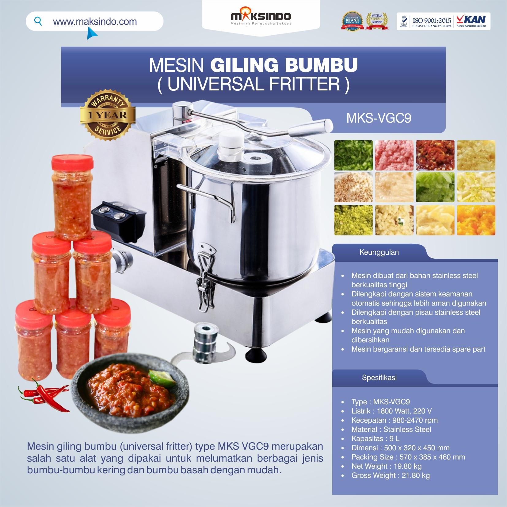 Jual Mesin Giling Bumbu (Universal Fritter) MKS VGC9 di Pekanbaru