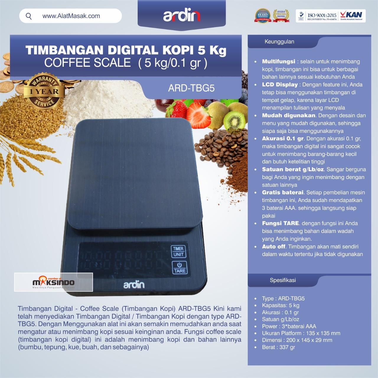 Jual Timbangan Digital Kopi 5 kg ARD-TBG5 (coffee scale) di Pekanbaru