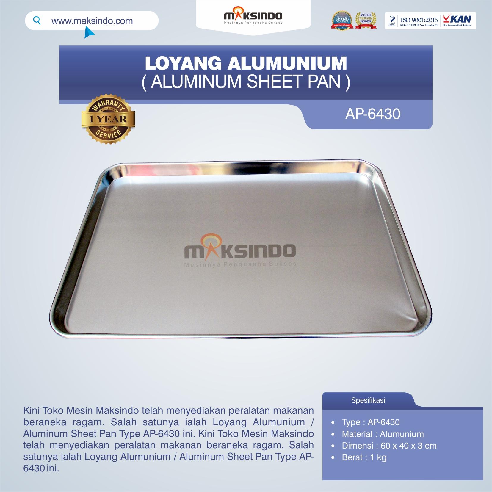 Jual Loyang Alumunium / Aluminum Sheet Pan Type AP-6430 di Pekanbaru