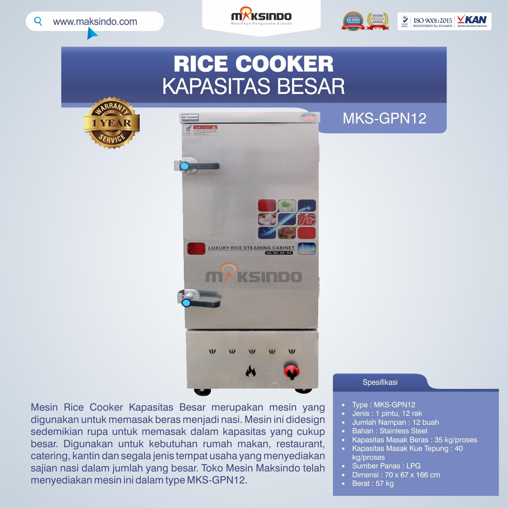 Jual Mesin Rice Cooker Kapasitas Besar MKS-GPN12 di Pekanbaru