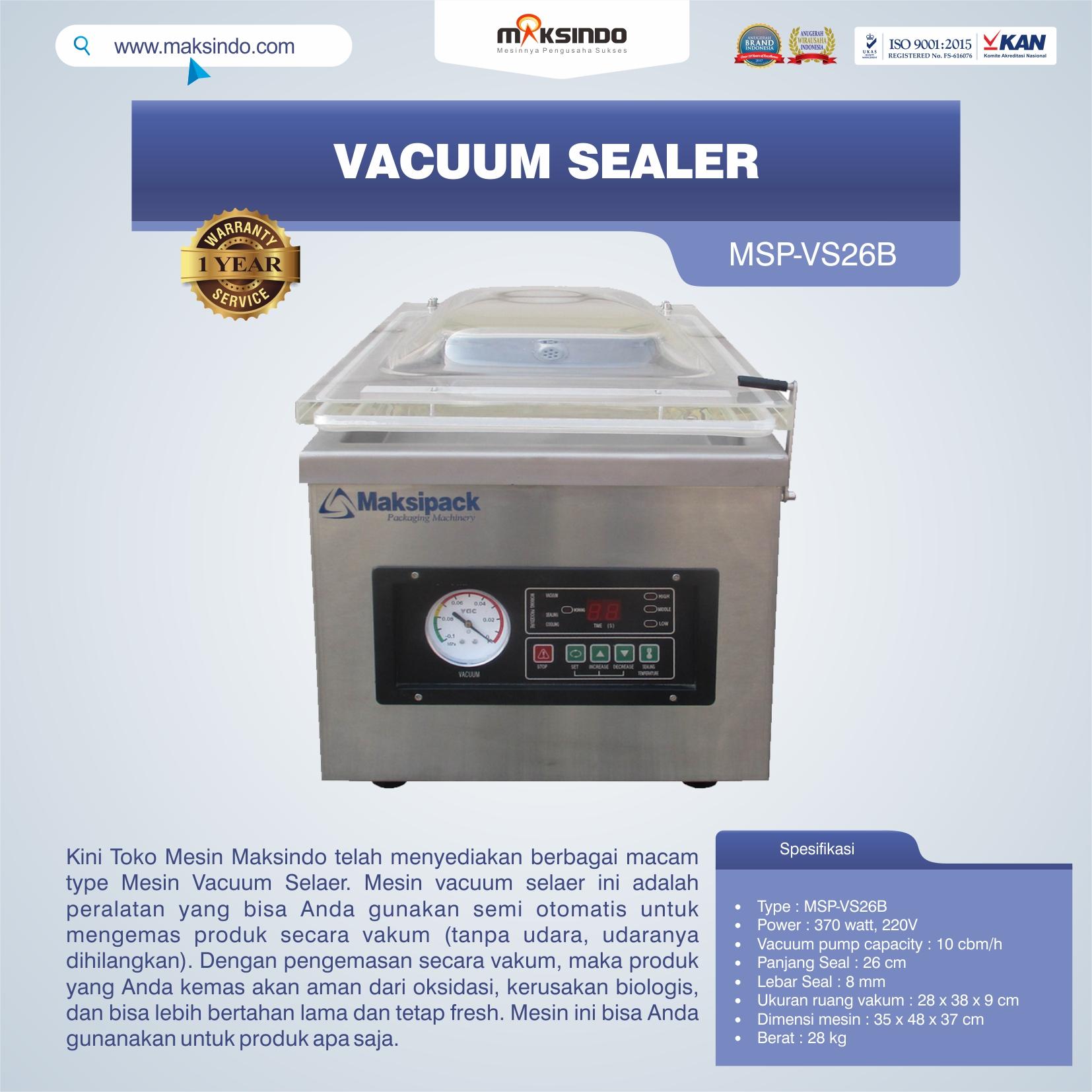 Jual Vacuum Sealer MSP-VS26B di Pekanbaru