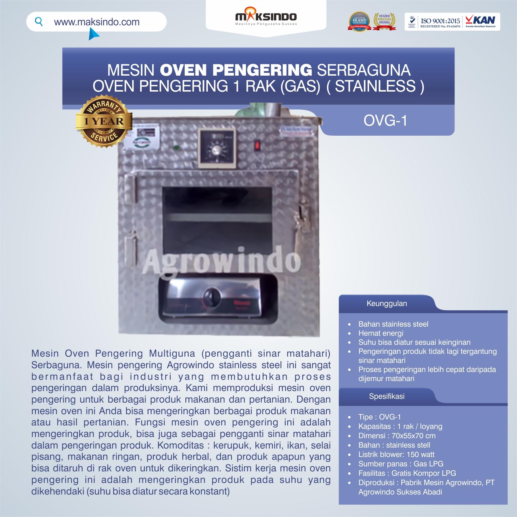 Jual Mesin Oven Pengering Serbaguna (Stainless – Gas) di Pekanbaru