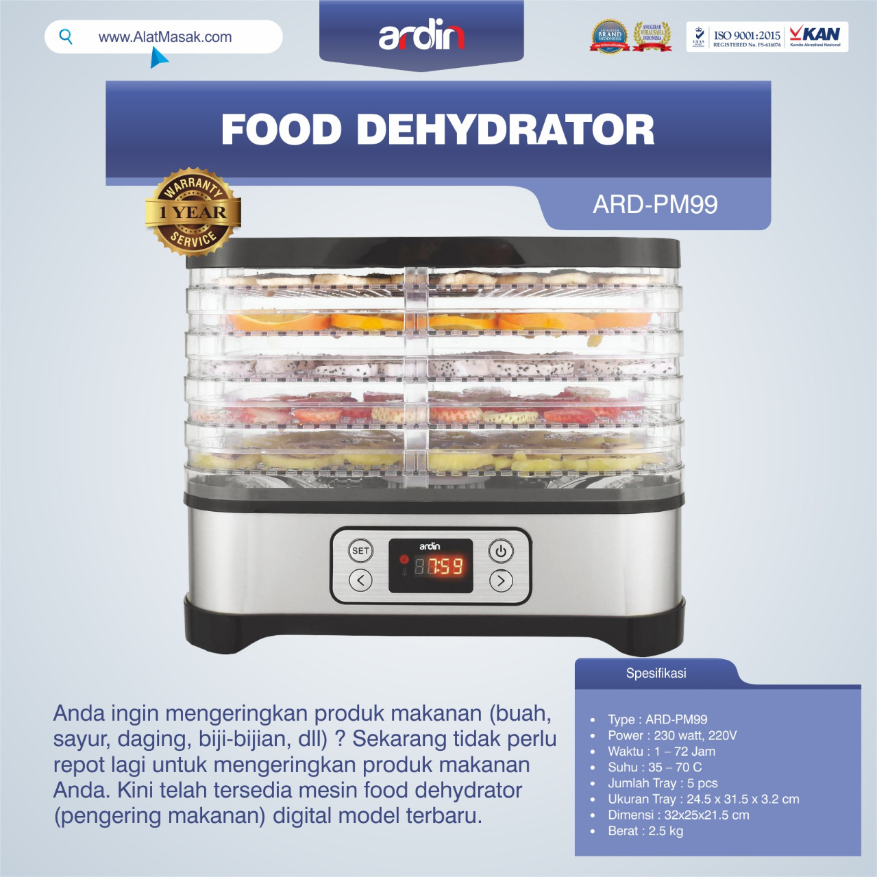 Jual Food Dehydrator ARD-PM99 di Pekanbaru