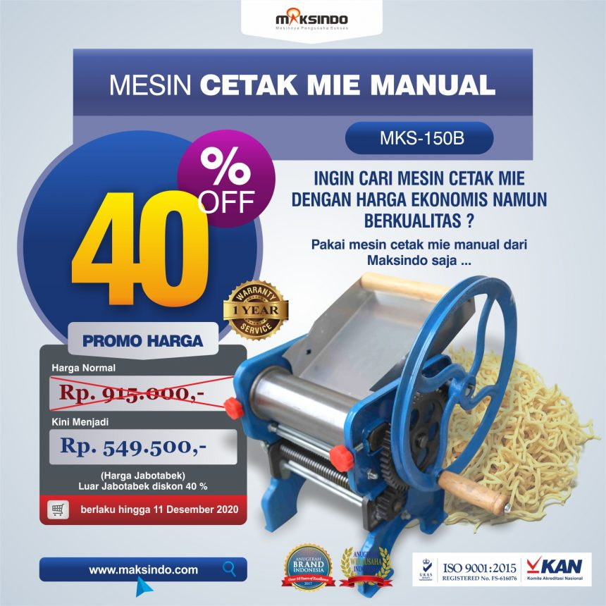 Jual Cetak Mie Manual Untuk Usaha (MKS-150B) di Pekanbaru