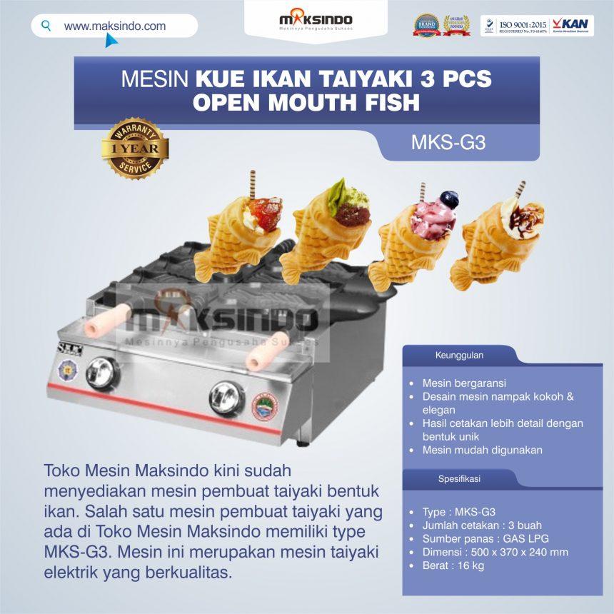 Jual Mesin Kue Ikan Taiyaki (3 pcs) – Open Mouth Fish di Pekanbaru